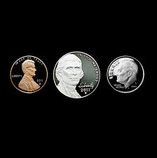 2011 S Lincoln Jefferson Roosevelt Proofs from U.S. Proof Set