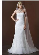 David's Bridal, 4P Petites, Mermaid & Trumpet, Lace, Soft White Wedding Dress