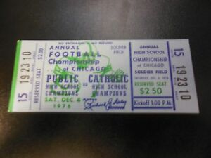 1976 PUBLIC CATHOLIC SCHOOL  FOOTBALL TICKET CHAMPIONSHIP CHICAGO SOLDIER FIELD