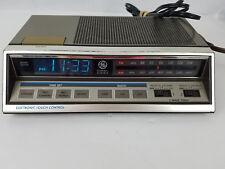 Vintage GE Alarm Clock Radio Model 7-4663A Two Wake Times Blue Light Digits