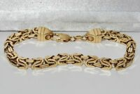 9ct Yellow Gold & Silver 5mm Square Byzantine Link Men's 8.5 inch Bracelet