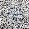 100PCS DIY 6X6mm 7X7mm 26 Letter Black Alphabet/Letter Acrylic Cube Beads Choose