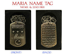 """Maria"" nombre árabe Collar Tag-Cumpleaños Boda ayatul kursi Eid Regalos"