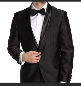 The Savile Row Dalston Black Dot Print Tuxedo Blazer Jacket 44R New