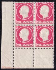 ICELAND 1912 Frederik VIII MNH 4-block Facit 119 / 119v + some minor varieties