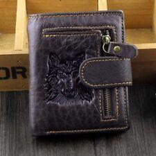 Men Wolf Vintage Natural Genuine Leather Zipper QR Wallet Credit Card Holder