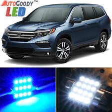 19 x Premium Blue LED Lights Interior Package Kit for Honda Pilot 16-17 + Tool