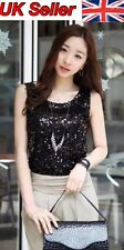 Women Ladies Shining Bling Sequin Tank Top Sleeveless T-Shirt Black
