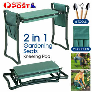 2 in1 GARDEN KNEELER PADDED PAD SEAT STOOL GARDENING WORK 6 TOOLS + 2 POUCHES AU