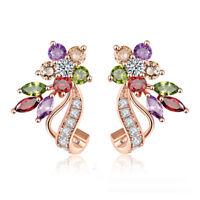 Rose Gold Plated Multi-Color Zircon Flower Stud Earrings Women Party Weddin