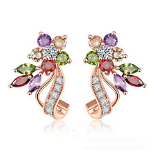 Rose Gold Plated Multi-Color Zircon Stud Earrings Women Party Wedding Jewelry