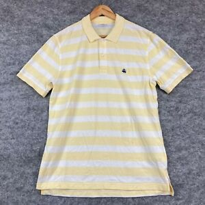 Brooks Brothers Mens Polo Shirt Size L Yellow Striped Short Sleeve Collared 2.17