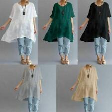Plus Size Summer Women's Short Sleeve Irregular Cotton Linen Tops T-shirt Blouse