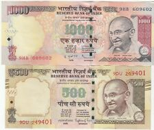 INDIA SET OF 2 GANDHI ISSUE OLD SERIES 1000 & 500 RUPEES R.B.I. BANK NOTE IN UNC
