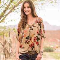 Sundance | Tan Velvet Silk Floral Top Womens Large