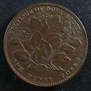 NS-6A2 One penny token 1856 Canada Nova Scotia Mayflower Breton 875