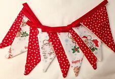 CATH KIDSTON HANDMADE BUNTING 2.5m CHRISTMAS WHITE SANTA & RED SPOTS RARE PRINT