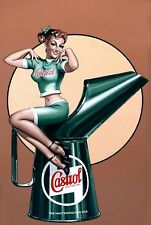 Castrol Motor Oil Pin up Girl Man Cave SIGN 4x6 magnet Fridge Bar Toolbox ShOp