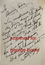 TOM MIX - NOTE - SIGNED - BILLIE DOVE - WESTERNS - DESTRY RIDES AGAIN
