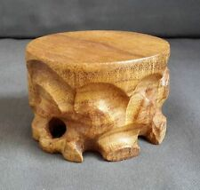 Chinese Carved Wooden Iroko Round Display Stand for Tea Pot Tea Cup Figurine