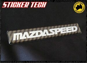CARBON FIBRE & CHROME MAZDASPEED STYLE BADGE EMBLEM STICKER TO SUIT MX5 MAZDA 3