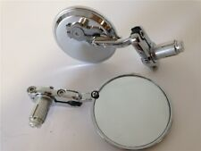 "Chrome Foldable Universal Motorcycle Round 1"" 25 mm Handle Bar End Side Mirrors"