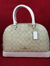 New Authentic COACH F58287 Sierra Signature Dome Satchel Handbag Purse Bag Chalk