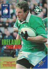Ireland v England 27 Feb 2005 Dublin RUGBY PROGRAMME