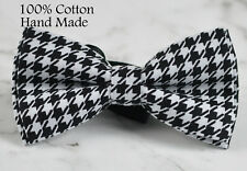 Men Black White Houndstooth Grids Pattern 100% Cotton Hand Made Bow Tie Bowtie