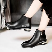 Chic Womens Chelsea Zipper Low Heels Pearls Black Leather Ankle Boots Shoes NEW