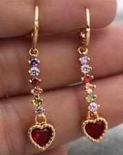 18K Yellow Gold Filled -1.6'' Heart Ruby Topaz Zircon Gems Hoop Wedding Earrings