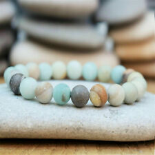 New Boho Amazonite Beaded Bracelet Men Women Yoga Mala Beads Meditation Jewelry