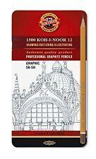 Koh-I-Noor 1502/111 Graphic Medium Grades Drawing Pencils Tin 5B-5H (Set of 12)