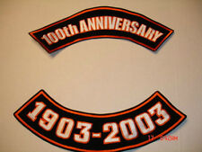 HARLEY 100TH ANNIVERSARY, ROCKER PATCHES 1903-2003, 2PC 12 X 4""