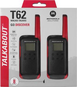 Motorola Talkabout T62 Rot 2 x Walkie Talkie PMR Funkgerät bis zu 8km Reichweite