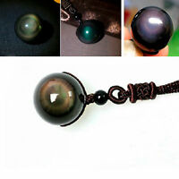 Lucky Black Obsidian Rainbow Eye Beads Ball Natural Stone Pendant For Necklace