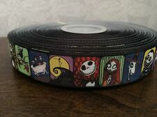 1m Nightmare Before Christmas Jack Skellington Sally Grosgrain Ribbon 22mm