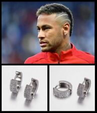 Men's/Boy's: NEYMAR - Brazil - PSG 18ct White Gold Plated Crystal Earrings