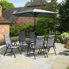 8PC GREY GARDEN FURNITURE SET OUTDOOR PATIO FOLDING DINING SET PARASOL 6 SEATER