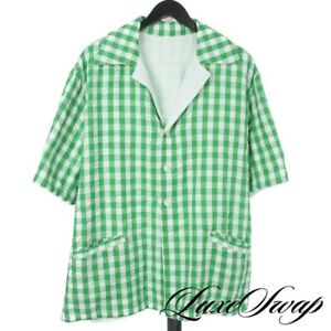 NWT Naissance Japan Reversible Green Gingham White Terrycloth Oversized Shirt S