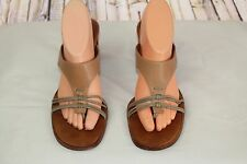 Tommy Bahama Tan/Brown Leather Thongs Womens Size 9.5 M Sandals Heels