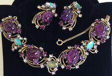 Vintage Schiaparelli Bracelet & Earrings Set~Art Glass/Rhinestones/Gold Tone