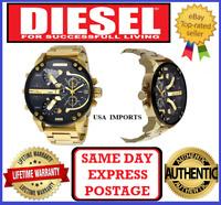 DIESEL Dz7333 MR DADDY 2.0 GOLD/ BLACK Multiple Time Zone Chronograph Mens Watch