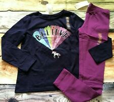 Gymboree 7-8 Navy Believe Unicorn Top Purple Leggings Mix N Match NWT Outlet
