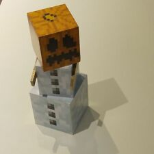 wooden Minecraft Style Snow Golem 32cm Tall with movable arms