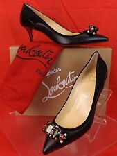 Louboutin Tudorchic 70 Black Leather Suede Jeweled Bow PUMPS 39