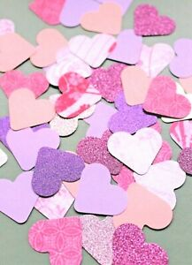 50 x PINK  & PURPLE PAPER CARD LOVE HEARTS CARD MAKING CRAFT EMBELLISHMENTS