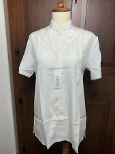 NWOT LaBelle Womens Hand Embroidered Asian  Blouse Shirt Top Short Sleeve Button