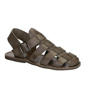 Handmade Men's franciscan close sandals shoes dark brown leather Made in Italy