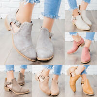 Womens Summer Buckle Low Block Heel Ankle Boots Side Buckle Casual Booties Shoes